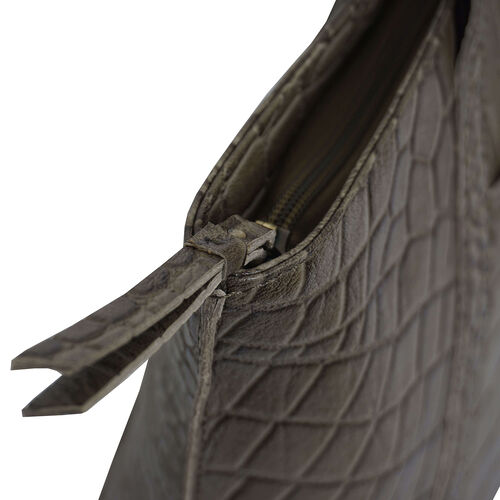Assots London AGNES Croc Embossed Genuine Leather Tote Bag with Zipper Closure (Size 33x11x26 Cm) - Olive Green