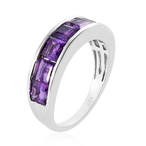 Lusaka Amethyst (Sqr) 7 Stone Half Eternity Ring in Platinum Overlay Sterling Silver 2.250 Ct.