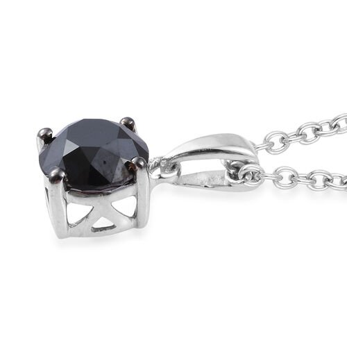 Black Diamond (Rnd) Solitaire Pendant With Chain (Size 18) in Platinum Overlay Sterling Silver 1.000 Ct