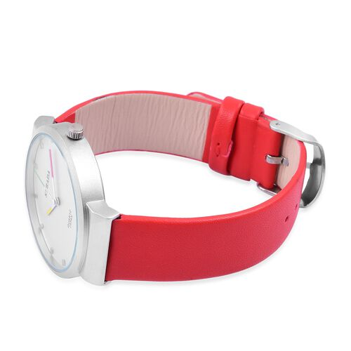 STRADA Japanese Movement Water Resistant Watch in Silver Tone with Stainless Steel Back and Red Colour Strap