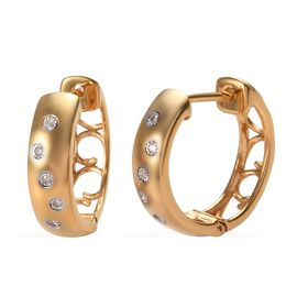 Designer Inspired Flush Set Diamond (Rnd) Hoop Earrings (with Clasp) in 14K Gold Overlay Sterling Si