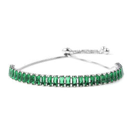 Simulated Emerald Bolo Bracelet in Silver Plated 6.5 to 10 Inch
