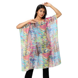 100% Mulberry Silk Digital Printed Kaftan in Pink and Sky Blue (Size 95x90Cm)