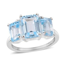 Sky Blue Topaz (Oct) Three Stone Ring in Sterling Silver 5.25 Ct.