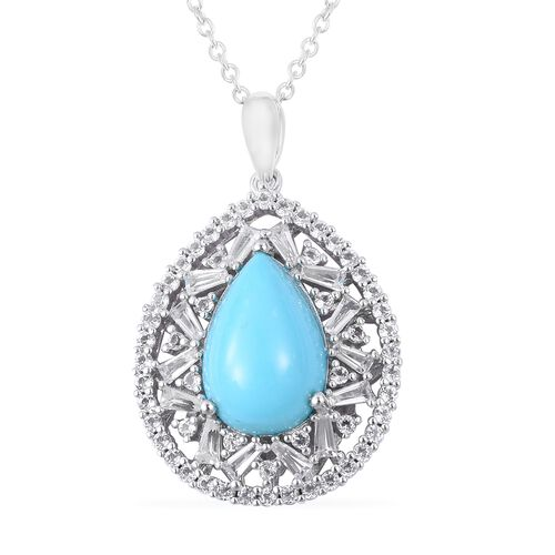 Arizona Sleeping Beauty Turquoise (Pear), White Topaz Pendant with Chain (Size 18 with 2 inch Extender) in Rhodium Overlay Sterling Silver 10.17 Ct, Silver wt 6.58 Gms