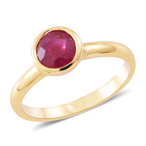Collectors Edition - ILIANA 18K Yellow Gold Very Rare Size AAA Burmese Ruby (Rnd) Solitaire Ring 1.750 Ct.