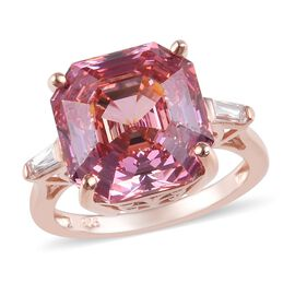 Valentine Must Have- J Francis - Rose Gold Overlay Sterling Silver (Oct) Ring Made with  Pink and Wh
