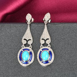 Arizona Sleeping Beauty Turquoise and Natural Cambodian Zircon Enamelled Earrings (with Push Back) in Platinum Overlay Sterling Silver 1.730 Ct, Silver Wt. 5.00 Gms
