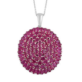 28.25 Ct African Ruby Cluster Pendant with Chain in Platinum Plated Sterling Silver