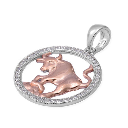 ELANZA Simulated Diamond Zodiac-Taurus Pendant in Plain and Rose Gold Overlay Sterling Silver
