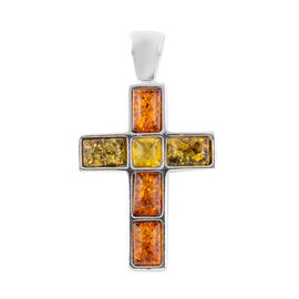 Multicolour Baltic Amber Cross Pendant in Sterling Silver