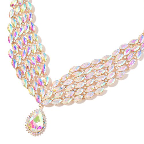 AAA Simulated White Diamond and Magic Colour Austrian Crystal Collar Necklace (Size 20 with 3 inch Extender) and Earrings (with Push Back) in Yellow Gold Tone