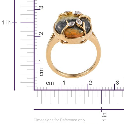 Bumble Bee Jasper (Ovl), Diamond Ring in 14K Gold Overlay Sterling Silver 12.520 Ct.