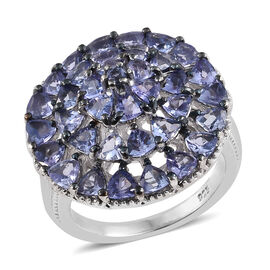 Tanzanite (Trl and Rnd) Cluster Ring and Platinum Overlay Sterling Silver 3.540 Ct, Silver wt: 5.40 Gms.