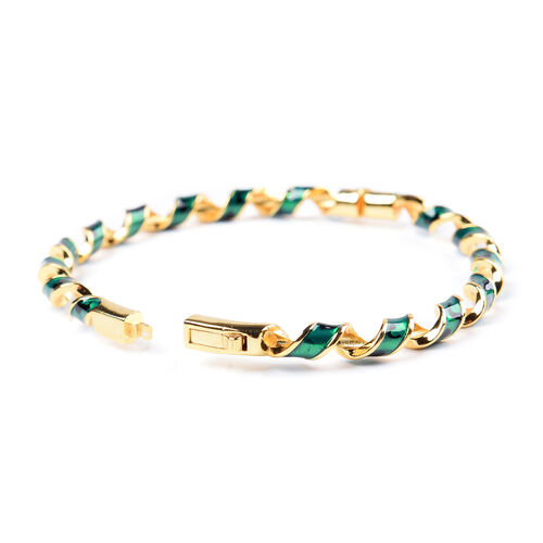 Green Enamelled Twisted Bangle (Size 7.25) in Yellow Gold Tone