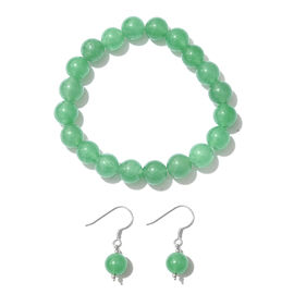 2 Piece Set - Green Aventurine Bracelet (Size 7.5) and Hook Earrings in Platinum Overlay Sterling Silver 125.000 Ct.