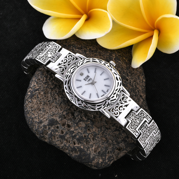 Royal Bali Collection EON 1962 Swiss Movement Sterling Silver Filigree Design Bracelet Watch (Size 6.75), Silver wt 60.00 Gms