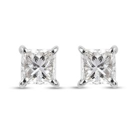 RHAPSODY 950 Platinum IGI Certified Diamond (Sqr) (VS/E-F) Stud Earrings (with Screw Back) 0.25 Ct.