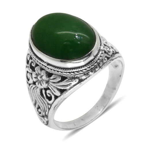 Royal Bali Collection Green Jade (Ovl) Ring in Sterling Silver 13.190 Ct. Silver wt 9.00 Gms.
