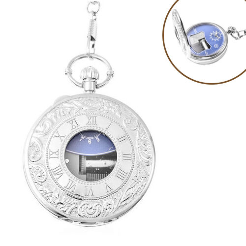 STRADA Japanese Movement Roman Number Pattern Water Resistant Music Pocket Watch with Chain (Size 14