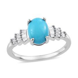 9K White Gold AAA Arizona Sleeping Beauty Turquoise (Ovl 8X6), Diamond Ring (Size Q) 1.150 Ct.
