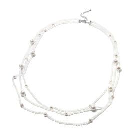 White Shell Pearl and Simulated White Topaz 3-Row Necklace (Size 32 with 3 inch Extender) in Silver