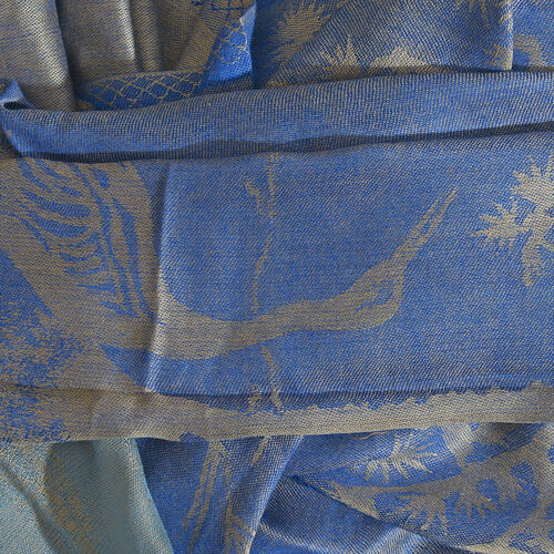 Autumn Winter Special Supersoft Modal Dark Blue, Light Blue and Golden Colour Heron Bird and Tree Pattern Reversible Jacquard Scarf with Fringes (Size 190X70 Cm)