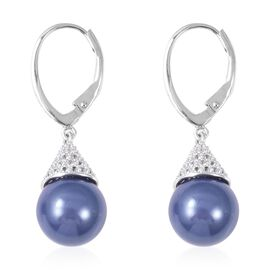 Haliotis Asinina Tanzanite Colour Shell Pearl and Zircon Drop Earrings in Rhodium Plated Silver