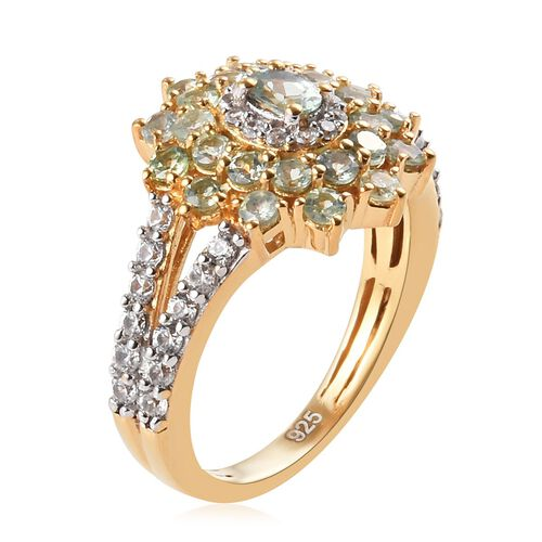 Alexandrite (Ovl and Rnd), Natural Cambodian Zircon Floral Cluster Ring in 14K Gold Overlay Sterling Silver 1.70 Ct.