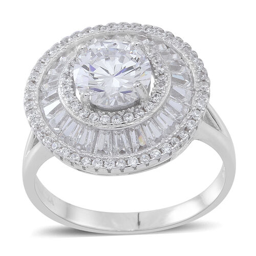 ELANZA Simulated White Diamond (Rnd) Ring in Rhodium Plated Sterling Silver. Silver wt. 6.49 Gms.