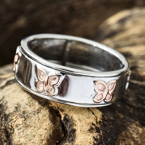Designer Inspired - Platinum and Rose Gold Overlay Sterling Silver Butterfly Spinner Ring, Silver wt 5.26 Gms.