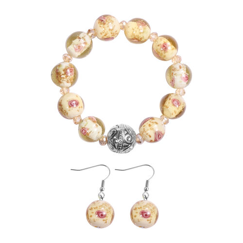 2 Piece Set -  Champagne Murano  Style Glass and Simulated Champagne Sapphire Beaded Bracelet and Ho