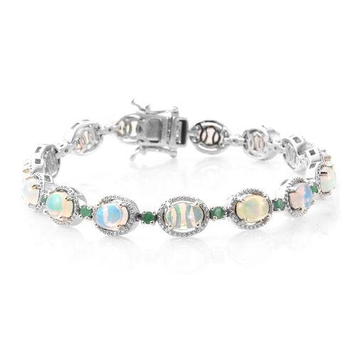 Ethiopian Welo Opal (Ovl), Kagem Zambian Emerald Bracelet (Size 7.5) in Platinum Overlay Sterling Si