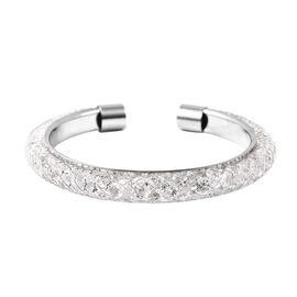 White Austrian Crystal Cuff Bangle (Size 7) in Silver Tone