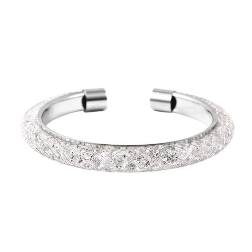 White Austrian Crystal Cuff Bangle (Size 7) in Silver Tone