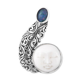 Princess Bali Collection OX Bone Carved Face and Australian Boulder Opal Pendant in Sterling Silver