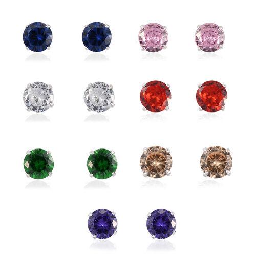 Set of 7 12.25 Ct Multi Gemstone Stud Earrings in Sterling Silver