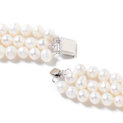 High Lustre Triple Strand Freshwater White Pearl Necklace (Size 18) in Rhodium Overlay Sterling Silver