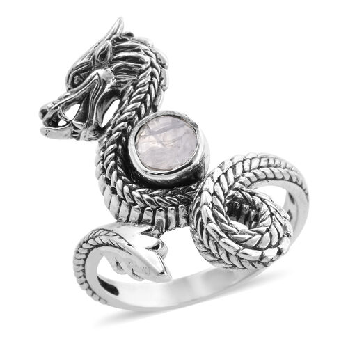 Royal Bali Collection - Polki Diamond Dragon Ring in Sterling Silver 0.50 Ct,  Sliver Wt. 7.00 Gms