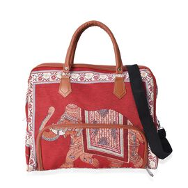 Red and Multi Colour Elephant Pattern Tote Bag with Detachable Shoulder Strap and Zipper Closure (Si