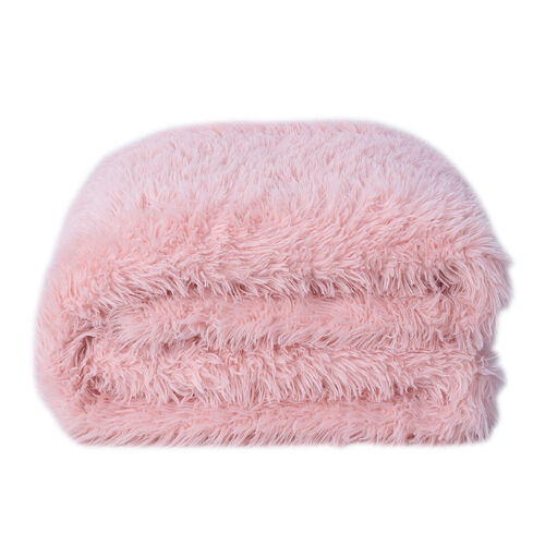Supersoft High Quality Fuax Fur Sherpa Blanket (150x200cm) - Pink