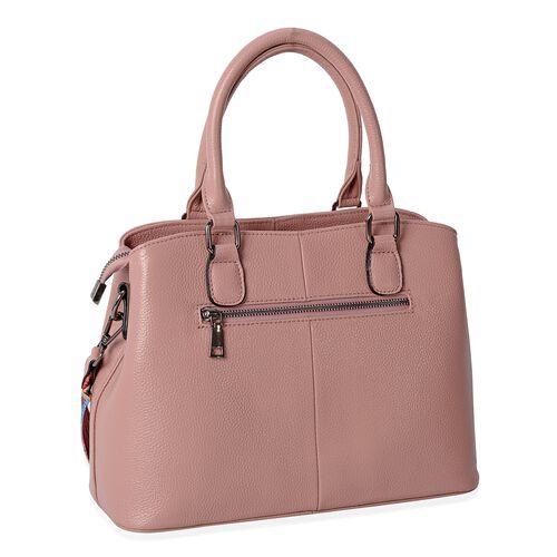 Premium Collection Super Soft 100% Genuine Leather Dusky Pink Colour Tote Bag with External Zipper Pocket and Multi Colour Removable Strap (Size 31.5x22.5x13 Cm).