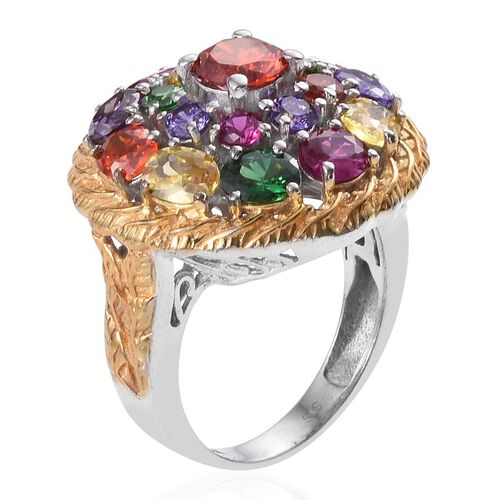 AAA Simulated Fire Opal (Rnd), Simulated Amethyst, Simulated Citrine, Simulated Tanzanite, Simulated Ruby and Simulated Emerald Ring in ION Plated Platinum Bond