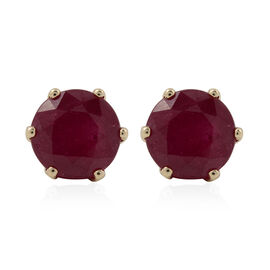10.73 Ct AAA African Ruby Solitaire Stud Earrings with Push Back in 9K Gold 2.20 grams