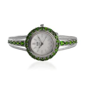EON Swiss Movement Russian Diopside, Natural Cambodian Zircon Water Res. Adjustable Bangle Watch (Si