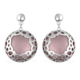 RACHEL GALLEY 31.96 Ct Rose Quartz Earrings in Sterling Silver 9.69 Grams