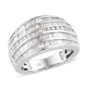 Diamond (Rnd and Bgt) Ring in Platinum Overlay Sterling Silver   1.500 Ct, Silver wt 5.82 Gms