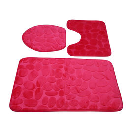 3 Piece Round Stone Embossed Pattern Bathmat Set - Toilet Mat, Bath Mat and Toilet Seat Cover in Pin
