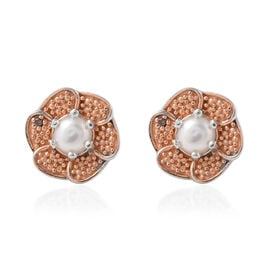 Freshwater Pearl (Rnd), Red Diamond Floral Earrings (with Push Back) in Platinum and Rose Gold Overl