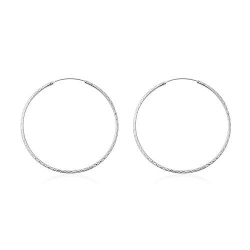 Rhodium Overlay Sterling Silver Hoop Earrings.Silver Wt 4.45 Gms